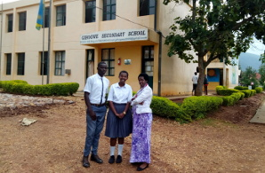 Headmistress standing outside of her office with Head boy Augustin & Head girl Celeste - Mar 2018